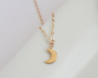 Tiny Necklace,Gold Necklace,Tiny Crescent,Gold Filled Chain,Layering Necklace,Delicate Necklace,Layer Necklace