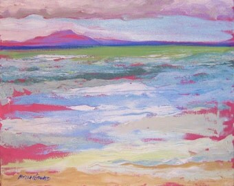 Semi abstract seascape with island of Lanai - large 16x20 Maui landscape painting Palette Knife in bright colors - beach wedding gift