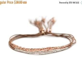 Valentine SALE Delicate rose gold or Fine silver on Walnut silk bracelet - friendship bracelet