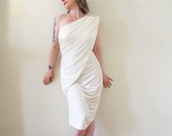 vintage 70s 80s does 40s one shoulder white asymmetrical Climax dress / ruched draped toga Grecian rhinestone goddess wedding angel