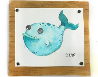 Whale 'Tiny Monster' Original Watercolor