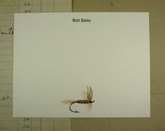 NEW! Olive Dun Dry Fly Fishing Fisherman Fisherwoman Custom Notecard Stationery. Thank You, Personalize Watercolor Print, Set of 10.
