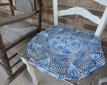 Vintage Doily Romantic Cottage Chic Decor Handmade Blue Ombre Kitchen Home Decor