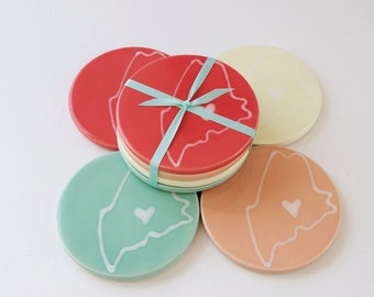 bright maine coasters set of 4