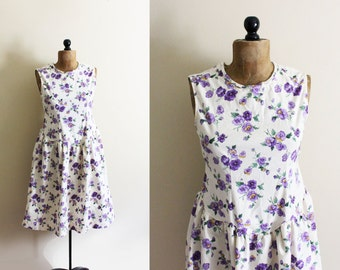 vintage dress 80s does 40s purple floral print pansy sleeveless womens clothing 1980s 1940s cotton size small s