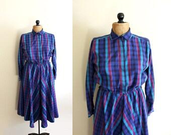 vintage dress 1980s plaid blue jewel tone womens clothing long sleeve size small s 6 8