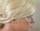 French Net Bridal Veils,Wedding Veil, Bridal Veil, Bandeau Veil, Small Veil, VIntage Style Veil, White Bridal Veil, Ivory Bridal Veil, bling
