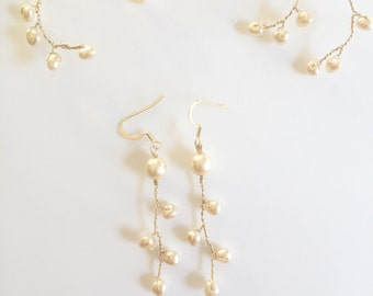 Juhi Pearl Earrings Style #04 | Bridal Earrings | Ivory Gold Earrings | Simple Dangle Earrings | Swarovoski Pearls | Bridesmaid Gifts
