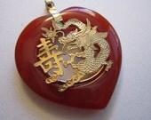 dragon pendant - 38mm - carnelian or faux carnelian with filigree dragon