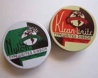 2 vintage typewriter ribbon tins - KLEAN-WRITE tins