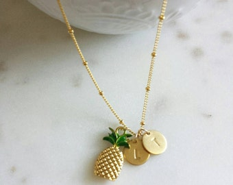 Pineapple necklace with personalized disc, pina colada, sweet Summer jewelry