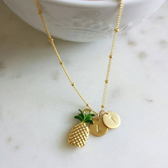 gold pineapple custom necklace
