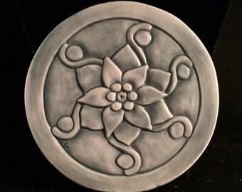 Handcarved  one-of-a-kind porcelain tile – pendant