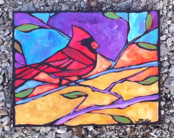 Cardinal in Spring Original Acrylic Painting on Wood Canvas