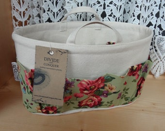Purse ORGANIZER Insert SHAPER / With handles / Cottage Floral on Natural / Size SMALL / 10.5 x 3.5 x 6H oval / Sturdy / Ready to Ship