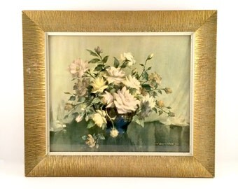 Vintage Floral Painting Print / Shabby Chic Tea Roses Cottage Art / Decor framed