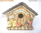 END SUMMER SALE 35% Off General Store Birdhouse, hand painted ceramics