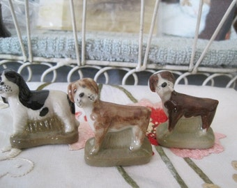 Lot of 3 Wade Dogs Seldom Seen Red Rose Tea Figures Wade Pottery