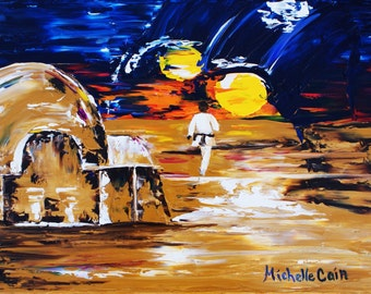 Fine Art PRINT Walking Toward the Dark Side, Star Wars Tatooine from Original Oil Painting by Michelle Cain, Impressionistic palette knife