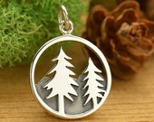 Tree and Mountain Pendant Sterling Silver - C1641, Hiking, Nature Charms, Camping, Vacation, Pine Tree