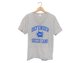 Vintage 80's Champion Defender BBC Soccer Camp Heather Grey V-Neck T-Shirt Made in USA - Large (OS-ts-12)