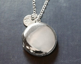 Modern Sterling Silver Locket Necklace, Large Round Plain Polished Photo Pendant with Hand Stamped Charm - Silvery Moon