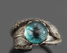 Eye Ring Snake Ring Evil Eye Ring Serpent Ring Feather Ring