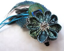 Feathered Serpent Kanzashi Hair Flower Feather Fascinator Hair Clip Mountain Musings