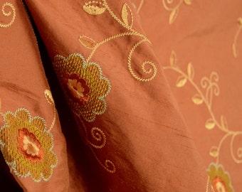 Orange Copper Embroidered Silk Fabric