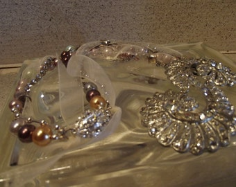 Antique Rhinestone (Buckle) with Glass Pearls