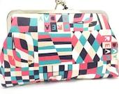 clutch purse - day dreamer  - 8 inch metal frame clutch purse - large purse-dream day-colourful - geometric-bird - green - red- kisslock