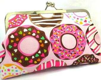 clutch purse - doughnut time  - 8 inch metal frame clutch purse - large purse- doughnut - pink- lolly necklace - kisslock