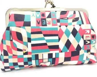 day dreamer  - 8 inch metal frame clutch purse - large purse-dream day-colourful - geometric-bird - green - red- kisslock