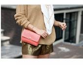 Coral leather bag, coral pink, Basic leather purse, leather bag, purse, cross body bag, shoulder bag