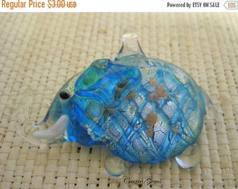 20% OFF ON SALE Lampwork Glass Blue Elephant 50mmx42mm,1 pc