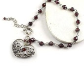 Wire wrapped bracelet, heart bracelet, garnet bracelet, sterling silver bracelet, fine jewelry