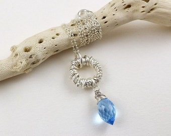 Blue quartz necklace, wire wrapped jewelry, gemstone small pendant, sterling silver jewelry