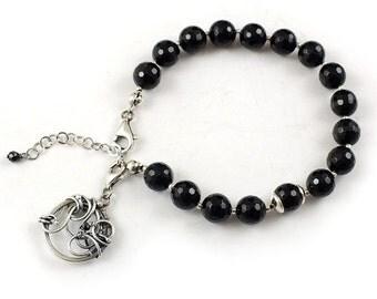 Wire wrapped bracelet, black bracelet, wire wrap charms, sterling silver bracelet
