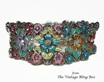 70's Silver Rhinestone & Enamel Flower Stretch Bracelet with AB Crystals Pave Set in Flowers Center - Vintage 70s Kitsch Costume Jewelry