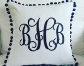 Monogrammed Linen Pom Pom Pillow Cover
