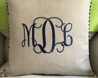 Monogrammed Linen Pillow Cover