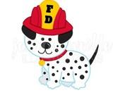SALE Dalmatian Fire Dog Cute Digital Clipart, Fire Fighter Dog Clip art, Fire Fighter Graphics, Fire Fighter Dalmatian Illustration, #130