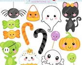 SALE Kawaii Halloween Cute Digital Clipart - Commercial Use OK - Halloween Graphics, Digital Art, Kawaii Clipart, Halloween Clipart