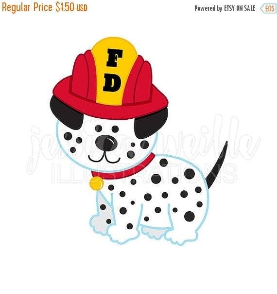 ... Art Sale dalmatian fire dog cute digital clipart , fire fighter