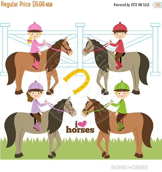 SALE Riding Horses Cute Digital Clipart - Commercial Use OK - Equestrian Kids Clipart, Kids Riding Horses, Cute Horse Clipart