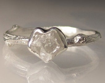 Heart Shaped Raw Diamond Twig Ring, Rough Diamond Engagement Ring