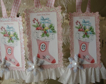 Pink Christmas tags paper ornaments Pink vintage stocking card scrap tags glittered decor pink white Shabby Chic Pink Christmas decor
