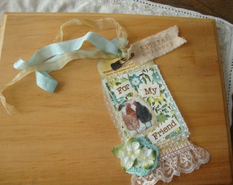 Chicken gift tags for friend paper art tags wallpaper tags birthday gift Shabby chic aqua vintage style tags mixed media tags 2 cute hens