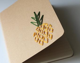 Pineapple- hand embroidered moleskine pocket notebook *LINED*