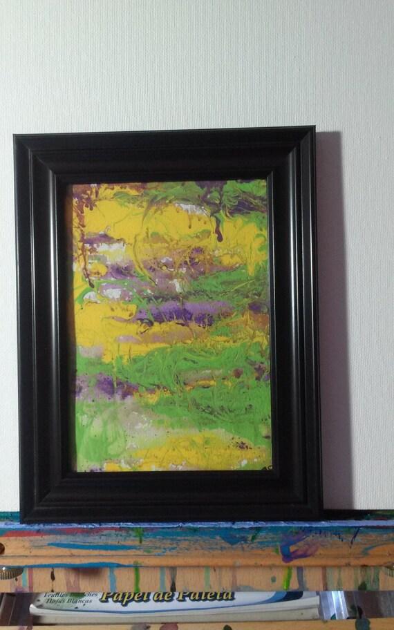SALE Original Framed ABSTRACT ACRYLIC Art   5 x 7  Peaceful Marsh